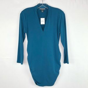 A Pea in the Pod Top M Deep V Neck Ruching NEW